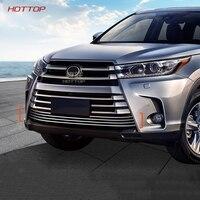 Aço inoxidável Grade Dianteira Cerca Guarnição Corrida Grills Guarnição Para Toyota Highlander 2015 2016 2017 2018 estilo do carro|Grades de corrida| |  -