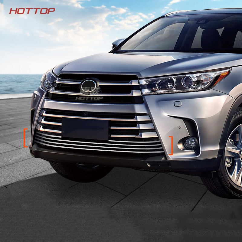 все цены на stainless steel Front Grille Around Trim Racing Grills Trim For Toyota Highlander 2015 2016 2017 2018 car styling
