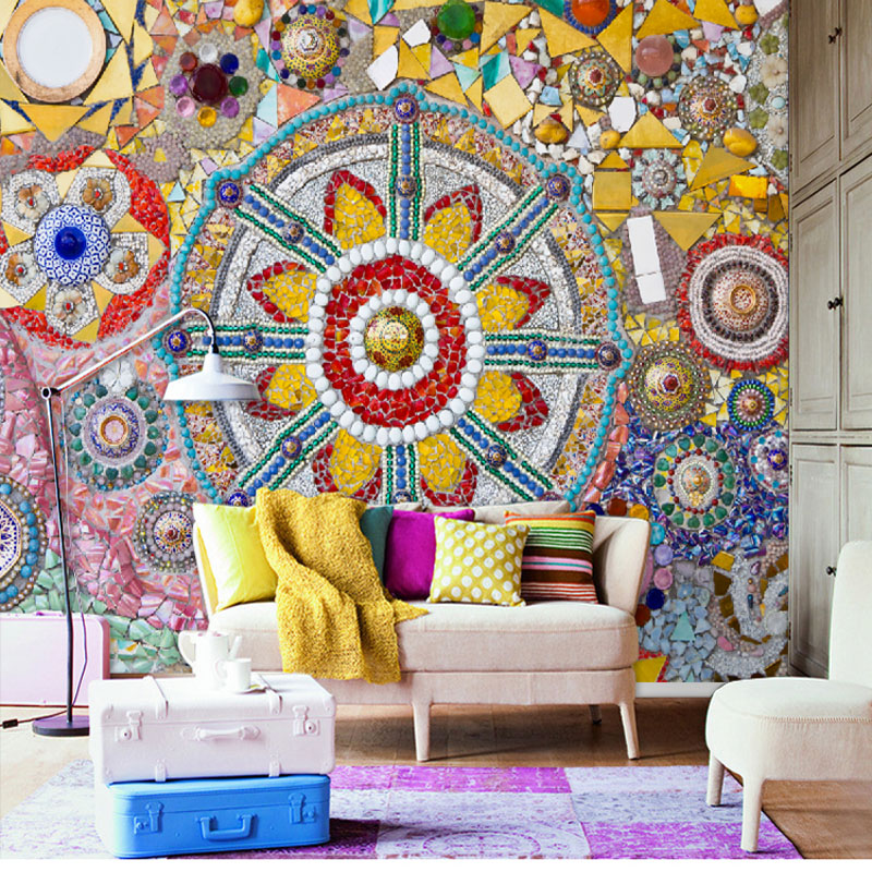 Discount Classic Vintage Bohemian Art Mural Wallpaper Home Decor Accessories For Living Room