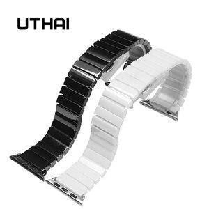 Ремешок для часов UTHAI A08, керамический ремешок для APPLE Watch 4/2/1, 42 мм/38 мм, браслет Iwatch, ремешок из смолы, аксессуары для часов