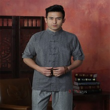 Fashion Trends Drak Gray Chinese Men's Cotton Linen Kung Fu Shirt Top Novelty Half Tang Suit Size S M L XL XXL XXXL