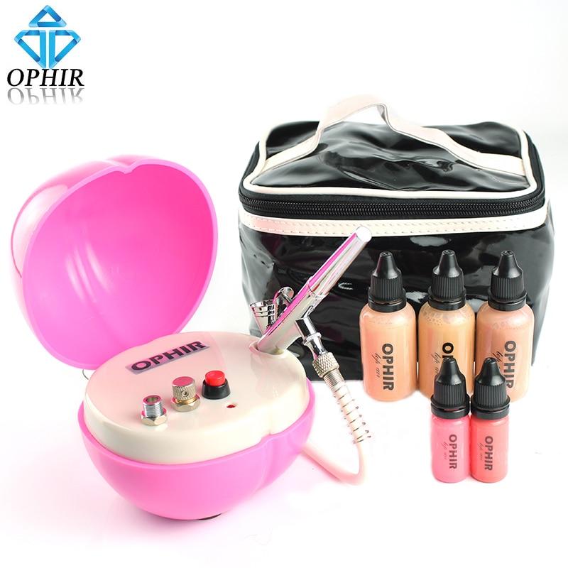 купить OPHIR Pro 0.3mm Airbrush Makeup System Kit with Air Compressor & Concealer Foundation Blush Eyeshadow Set & Airbsuh Bag_OP-MK003 недорого