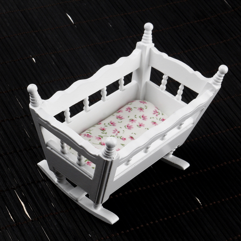1:12 Dollhouse Miniature Furniture White Baby Crib Cradle+Flower Mattress American Pastoral Style Doll Accessories Baby's Room