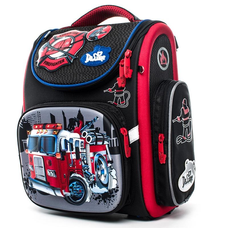 Delune Fire Truck Pattern School Bags For Boys Cartoon Backpack Children Orthopedic School Backpacks Student Mochila