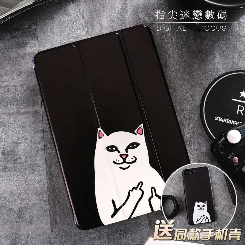 For New iPad 9.7 2017 Black Cat Painted Flip Cover For iPad Pro 9.7 Air Air2 Mini 1 2 3 4 Tablet Case Cover Protective Shell cartoon cute cat flip cover for ipad pro 9 7 air air2 mini 1 2 3 4 tablet case protective shell for new ipad 9 7 2017