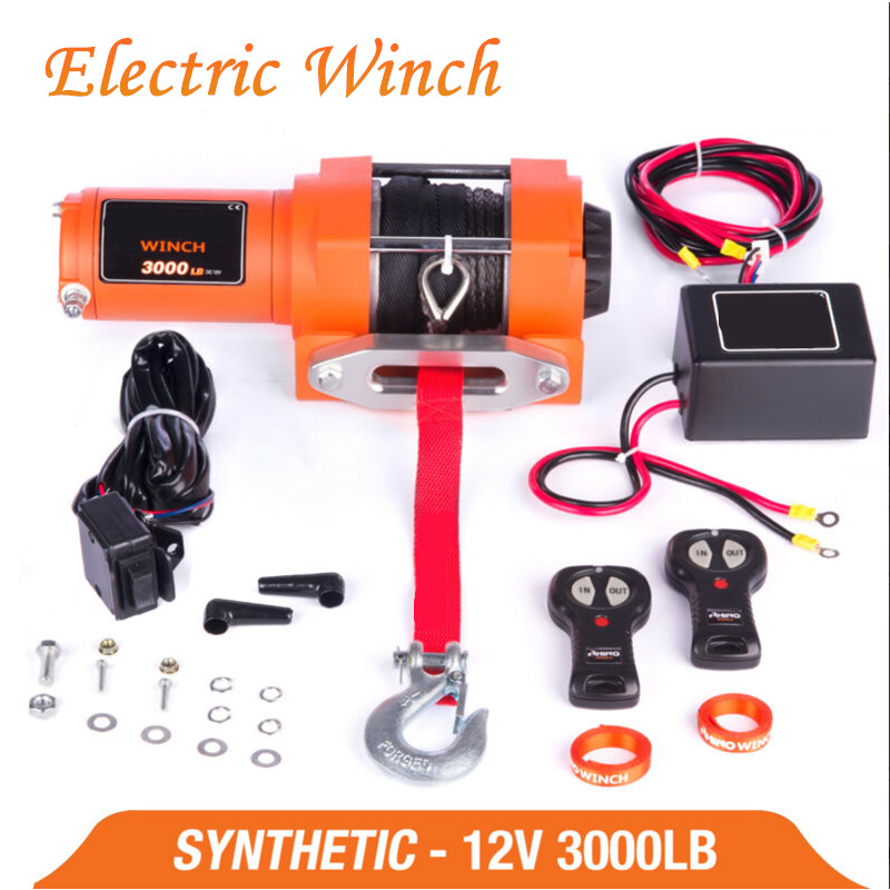 12V 3000lb Remote Control Set Electric Winch  Heavy Duty ATV Trailer  High Strength Nylon Rope Electric Winch