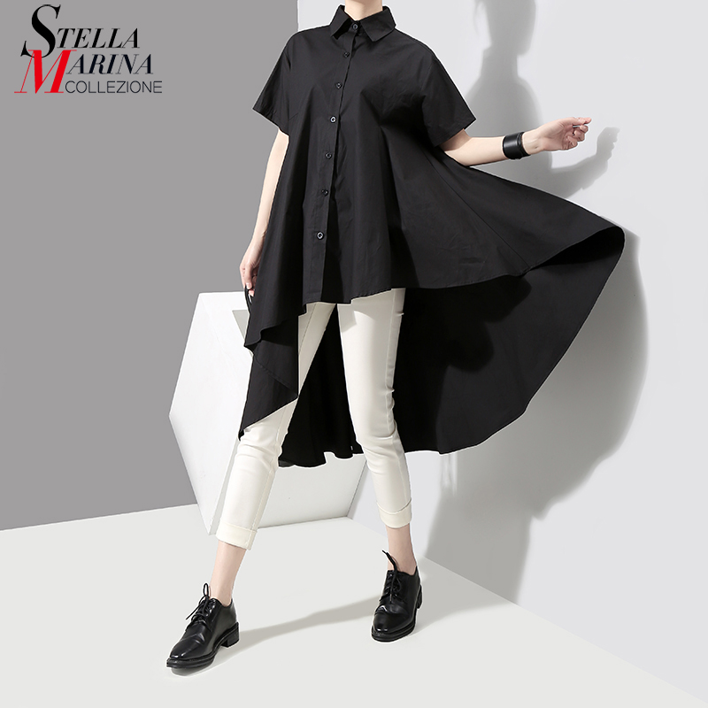 2019 Korean Women Summer Solid Black Top Feminine Blouse Shirt Short Sleeve Long Back Girls Casual Blouses chemisier femme 3514