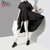 New Arrivals 2018 Korean Women Summer Tops Black Blouse Shirt Short Sleeve Long Back Girls Casual Blouses chemisier femme 3514