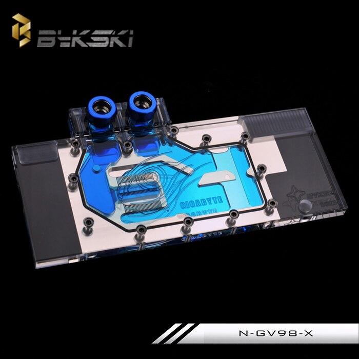 Bykski N-GV98-X Full Cover Graphics Card Water Cooling Block for GIGABYTE GV-N98T GAMING-6GD / GIGABYTE GV-N980WF3OC-4GD n gv98ti x gtx980ti gv n98tg1 full coverage water cooling head water jacket