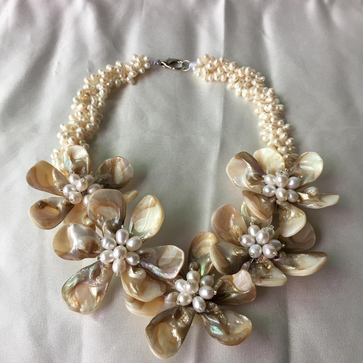 2019 luxe Punk blanc coquille perles blanches fleur collier ras du cou pour les femmes de mariage bijoux accessoires