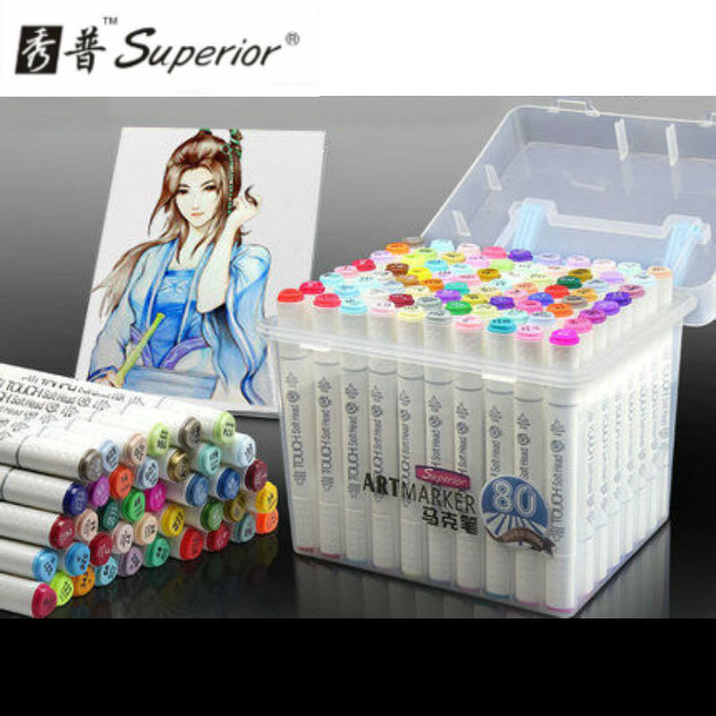 Superior 80colors/set Alcohol Oily Marker Double - headed Art Marker Artist Sketch Drawing Marker Animation Cartoon sta 128 colors double headed sketch alcohol drawing marker pen 24 36 48 60 72 set animation common paint sketch art marker