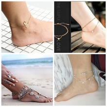 Bohemian Anklets For Women Summer Beach Jewelry Trendy Starfish Double Layer Chain Foot Bracelet Boho Hot Selling