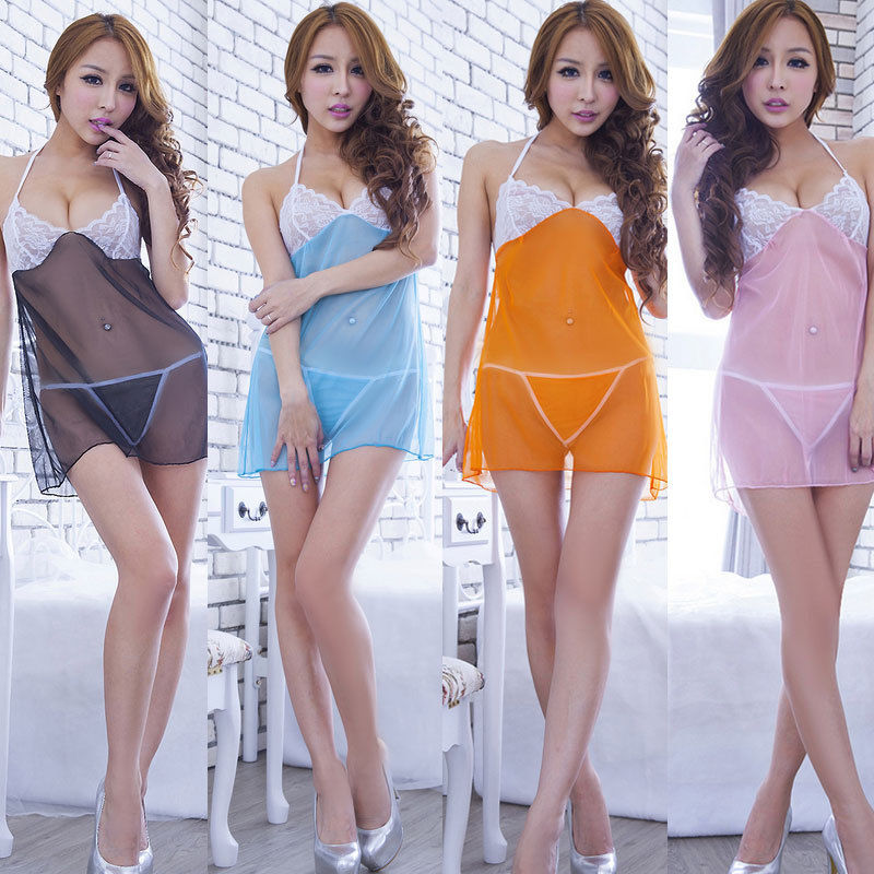 Womens lingerie sexy hot erotic babydoll Elegant Ladies Lace Underwear transparent Nightwear erotic dress costume nighty for sex(China)
