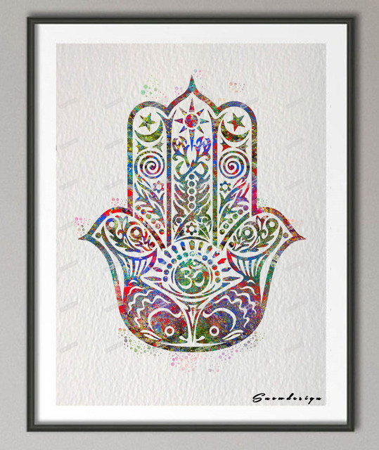 DIY Original watercolor Hamsa Hand canvas painting pop wall art ...