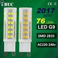 2017 New G9 LED 2835 SMD 3W 5W 7w 220v 33LEDs 51LEDs 76LEDs Lamp Ceramic Crystal LED Bulb high power Spotlight for Chandelier