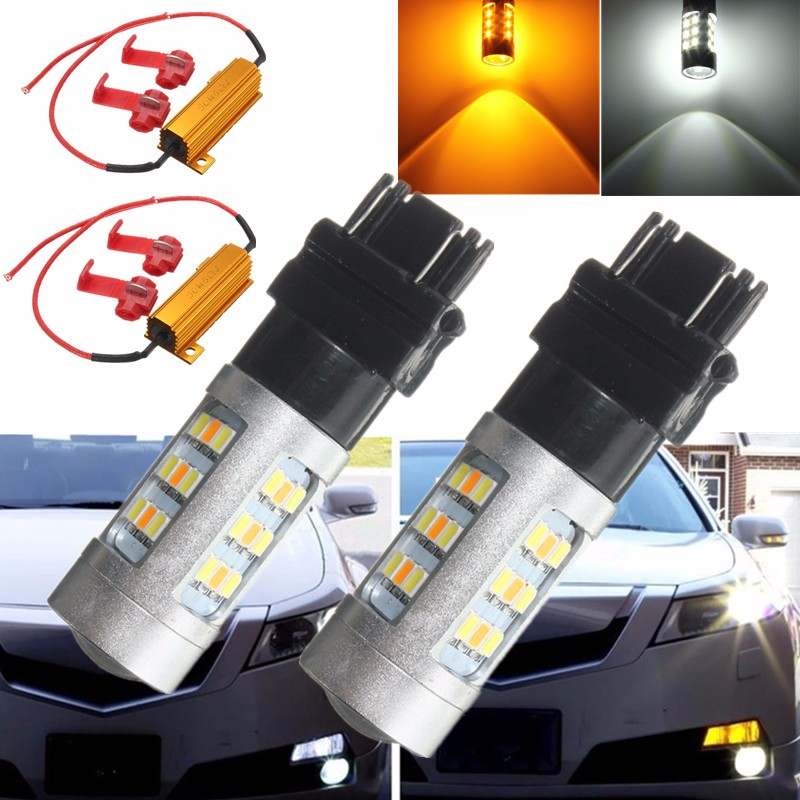 3157 3535 33 SMD Auto Car Dual Colors Amber/White Switchback LED Bulbs Light Bulb Lamp Load Resistors DC12-24V df315715288 3157 3w 210lm 1 smd led white light car brake light dc 12v