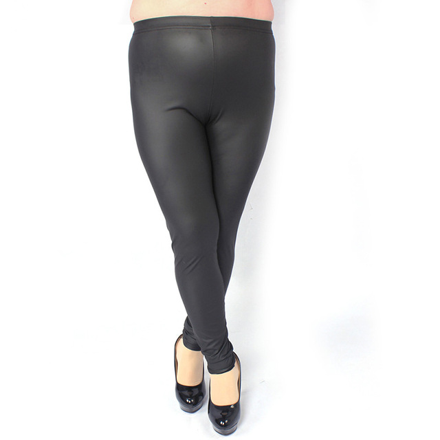 Women Stretched Bodycon Leggings Faux Leather Lady Trousers Slim Normal Size High Waist Leggings Plus Size Bottom