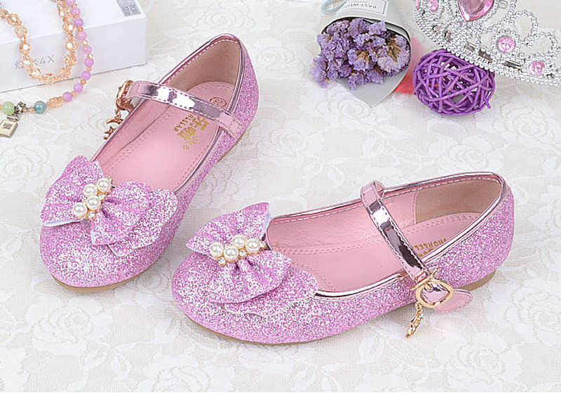 New Girls Princess Flats Pearl Bowtie Butterfly knot Leather Shoes Party Dancing for Toddler/Little Kid/Big Kid