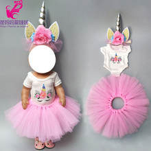 18 inch doll dress for 43cm Baby unicorn pink princess clothes 17 jacket kids gifts