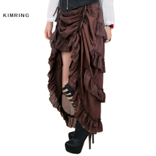 Kimring Vintage Women Steampunk Brown Skirt Victorian High Waist Skirts with Corset Sexy Gothic Style Halloween Costume Skirt