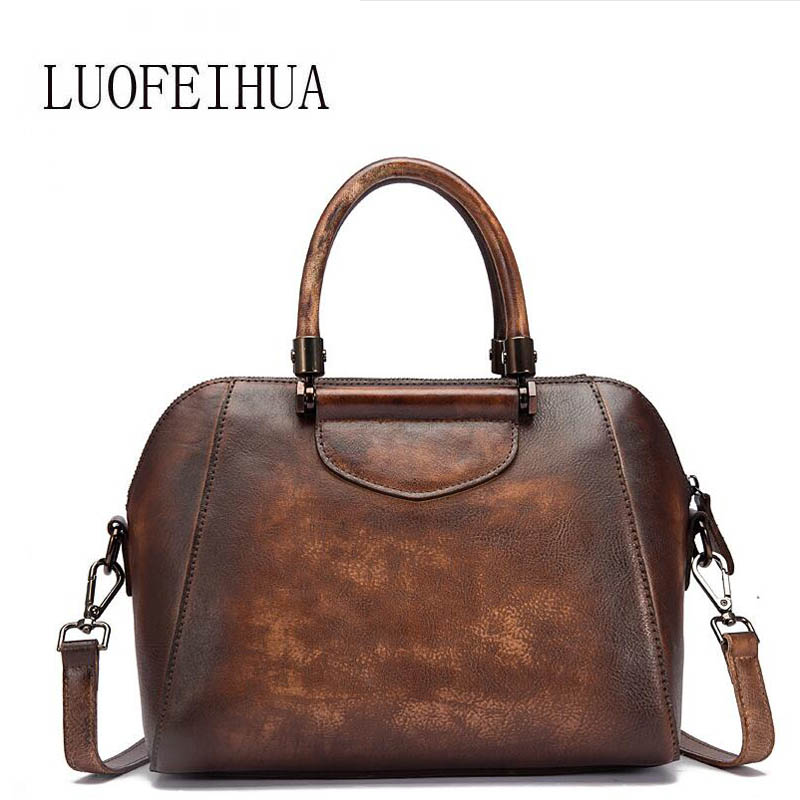 LUOFEIHUA  2019 new leather handbag The first layer of leather retro color trend portable Messenger bag Fashion pillow bagLUOFEIHUA  2019 new leather handbag The first layer of leather retro color trend portable Messenger bag Fashion pillow bag