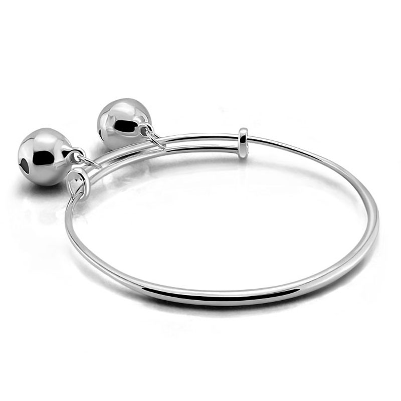 Charming lady sterling silver jewelry.Contracted solid 925 silver women bracelet.Fashion and lovely bracelet pendant girl bell