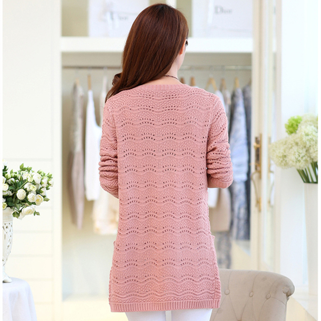 Spring Summer Long Cardigan Women With Pockets Long Sleeve Knitted Coat Female Tops Plus Size Pink Cardigan Shawl Sweater AA901
