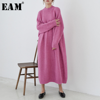 [EAM] 2019 New Spring Winter Round Neck Long Sleeve Red Loose Knitting Large Size Long Sweater Dress Women Fashion Tide JK728