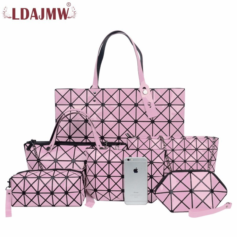 LDAJMW 6PCS/Set Women Retro PU Leather Handbags Female Bag Mother Package Bag Hand Mother Bill Of Lading Shoulder Bag Women Bag скатерть 85 85 cm п э