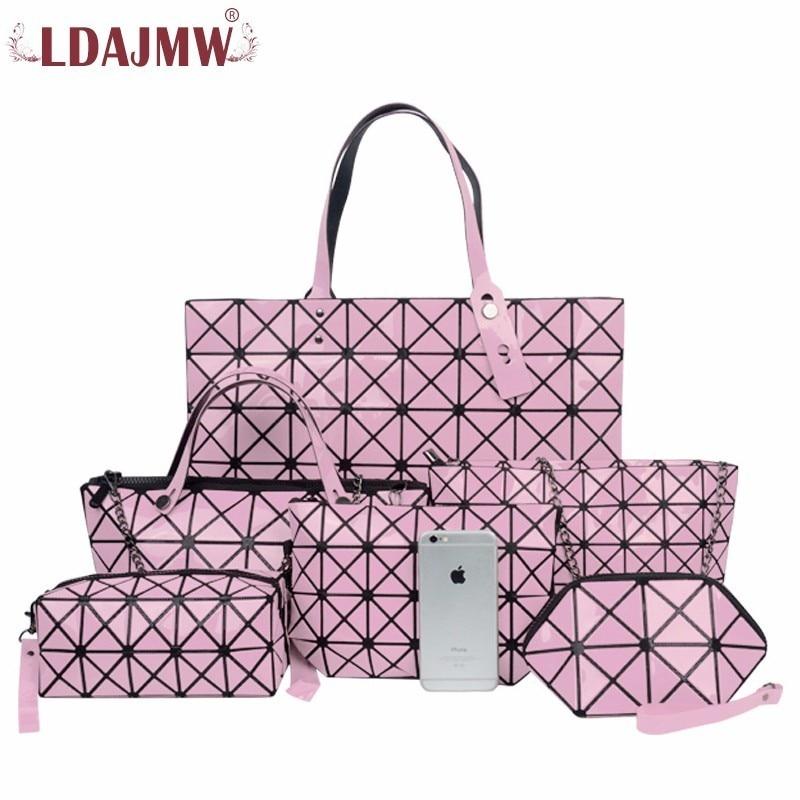 LDAJMW 6PCS/Set Women Retro PU Leather Handbags Female Bag Mother Package Bag Hand Mother Bill Of Lading Shoulder Bag Women Bag surprise primary 2 test book