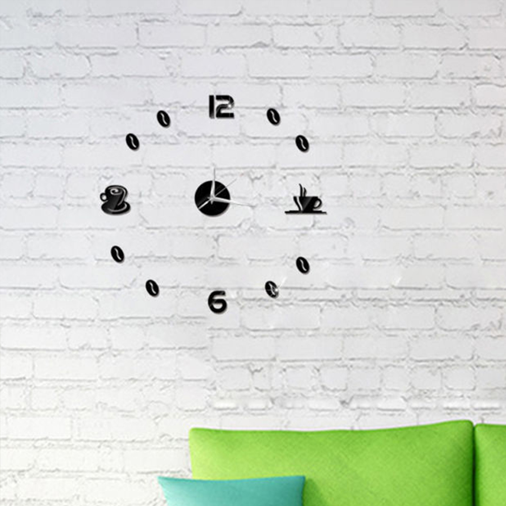 Self Adhesive Kitchen 3D Analog Home Waterproof Wall Clock Art DIY Mute Modern Mirror Coffee Cups Decor Acrylic 4