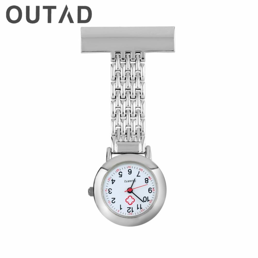 a17d759f0a0 Stainless Steel Arabic Numerals Quartz Brooch Doctor Nurse Pocket Watch relogio  de bolso button battery Drop