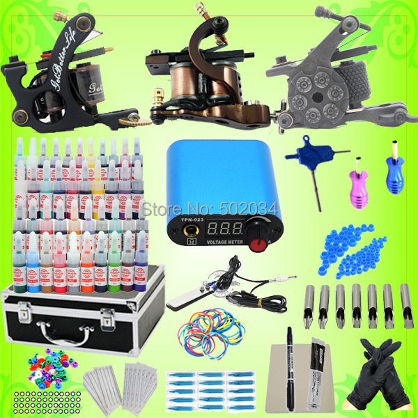 USA Dispatch Complete Starter Tattoo Kit 3 machine guns LCD power 40 inks Needles Tips Grips Tools Equipment Sets supply starter tattoo kit 40 inks 2 machine guns grips needles tips power set equipment supplies for beginners usa warehouse k201i1