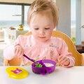 Aprendizagem da criança do bebê conjunto pratos prato tigela de comida prato colher sensor de sucção cup ajudar crianças talheres tigela coberta