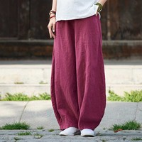Spring Autumn Linen Cotton Pants Women Wide Leg Bloom Pants Chinese Style Trousers Vintage Joggers Pants Female Clothes