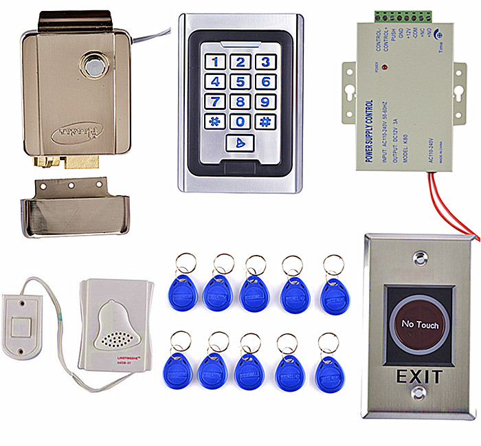 Metal IR NO Touch Door Button + RFID Card Metal Case  Door Access Control Kit +Safety Stronger Electric Door Lock+ 10 Key Card brand new in stock full waterproof metal rfid card code touch keypad door access control kit electric door rim lock