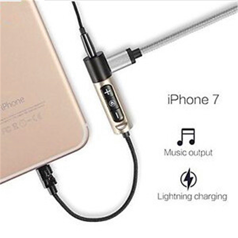 46pcs Clean Stocks 2in1 for <font><b>Lightning</b></font> to Audio Charging <font><b>Charger</b></font> Adapter for iPhone 7 Plus Charging Music together free shipping