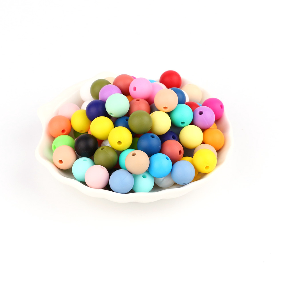 TYRY.HU 10 pieces Silicone Round Beads 9mm Baby Teething Chewed Beads Necklace Pacifier Chain Bracelet Making Jewelry BPA Free