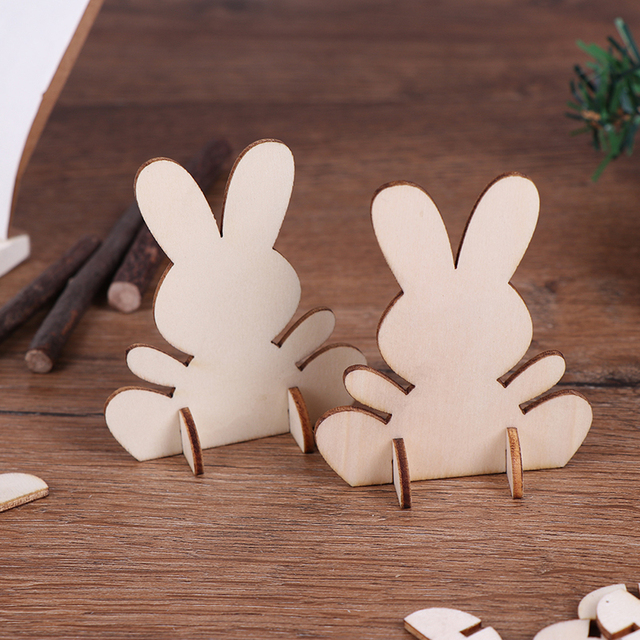 Us 213 16 Off10 Pcs Lovely 3d Easter Wooden Rabbit Pieces Diy Creative Embellishments Cutouts Craft Bunny Ornament Home Decor In Party Diy