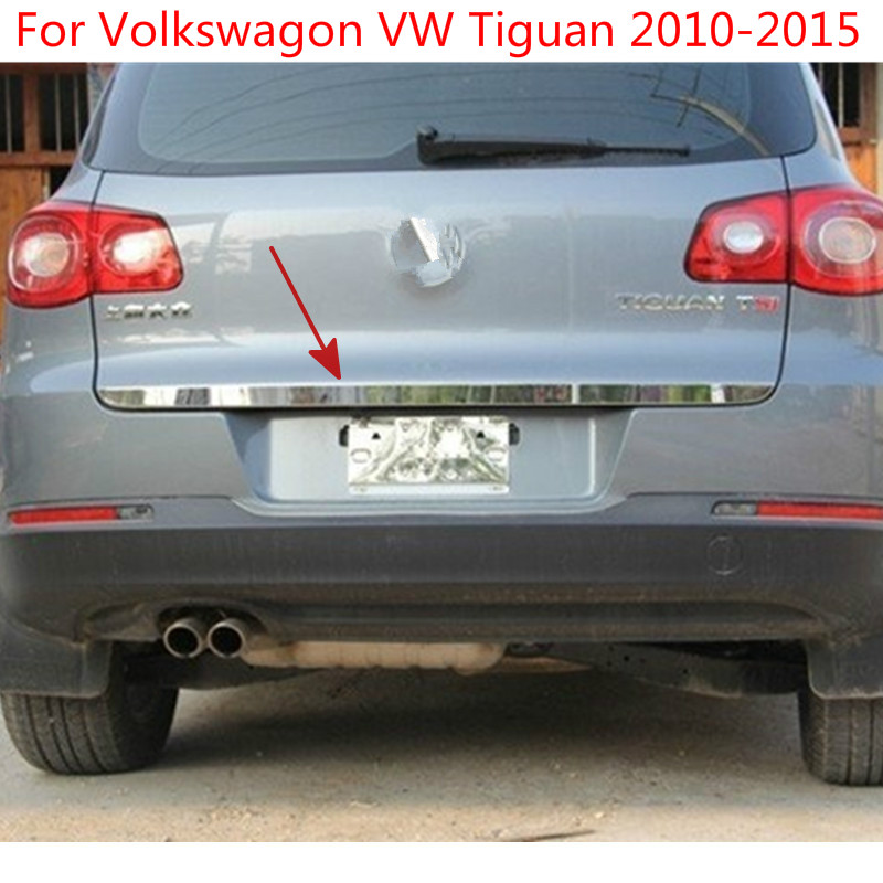 For Volkswagon <font><b>Tiguan</b></font> 2010 2011 2012 <font><b>2013</b></font> 2014 2015 High-quality stainless steel Rear Trunk Lid Cover TrimCar-styling image