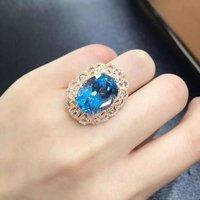 Anillos QI xuan_blue камень Модные украшения Rings_Finger rings_rose золото Цвет синий камень rings_manufacturer непосредственно продаж
