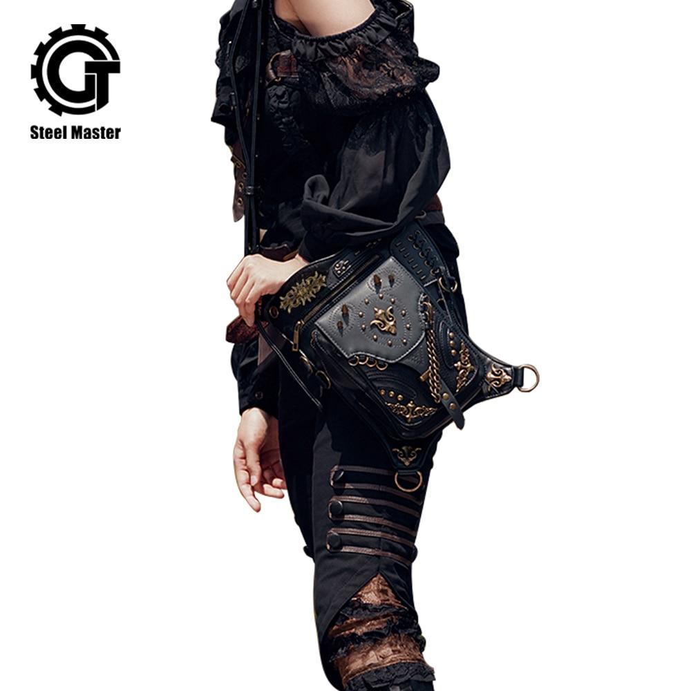Gothic Leather Waist Fanny Pack Bags Rock Motorcycle Men Women Drop Leg Bag Rivet Messenger CrossBody Shoulder Bag pacgoth multifunction waist messenger for men women fanny shoulder