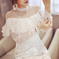 HANZANGL New Arrive 2018 Spring Summer White Lace Dress Women S Elegant Sexy Ruffles Embroidery Vintage