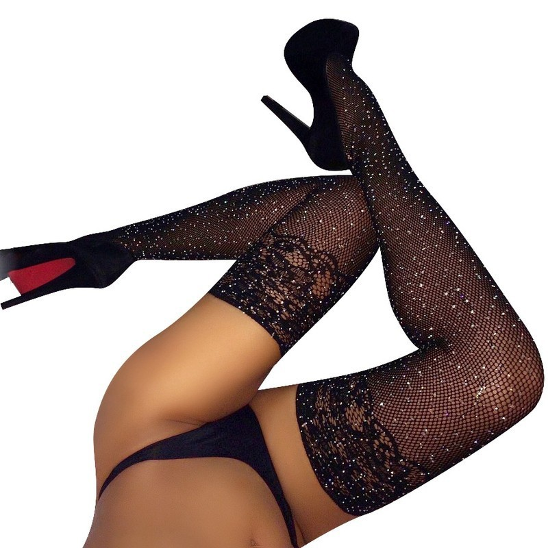 2019 Hot Sexy Diamond Bright Fishnets Stockings For Women Fashion Exquisite Carving Big Red Fish Thigh High Stockings