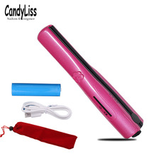 New 2 in 1 Cordless Mini Flat Iron Hair Curler Wand Straightener USB RechargeableHair Curling Straighter Tools LED Display