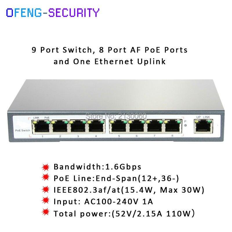 Commutateur ieee 802.3af commutateur 9 ports 10/100 M avec POE 8 ports, IEEE 802.3af/at, puissance de sortie PoE Max: 30 Watts, Budget PoE: 110 WattsCommutateur ieee 802.3af commutateur 9 ports 10/100 M avec POE 8 ports, IEEE 802.3af/at, puissance de sortie PoE Max: 30 Watts, Budget PoE: 110 Watts
