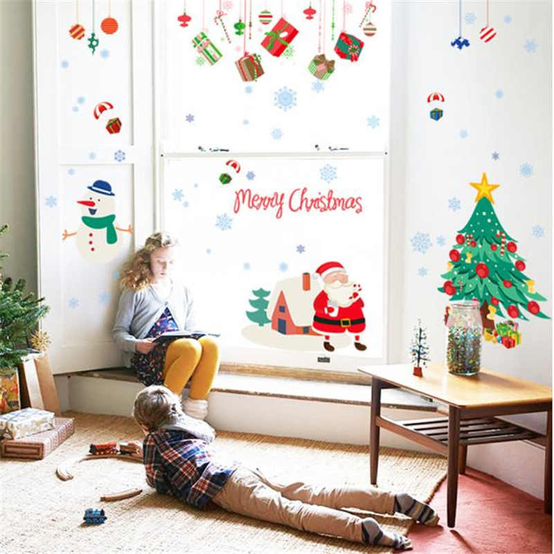 Image 5 - Merry Christmas Wall Stickers Wall Art Removable Home Decal Party Decor Santa Claus Window Transparent Film Stickers flowers-in Wall Stickers from Home & Garden
