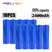 FELYBY 10pcs 3.7v lithium 18650 brand 100% capacity 2400mAh rechargeable battery 18650 li ion battery For Laser pen flashlight