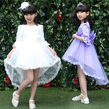 Hot 2016 Girl Wedding Party Performance Costume Children Clothing Girl Dresses White Lace Princess Dress Kids Costume Ball Gown