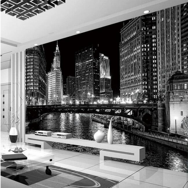 Custom 3D Mural Wallpaper Black And White City Night Landscape Murals Living Room TV Backdrop Wall Modern Simple Papel De Parede